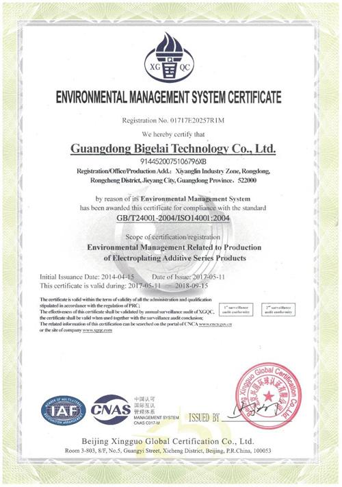 比格莱环境管理体系认证证书(英文)